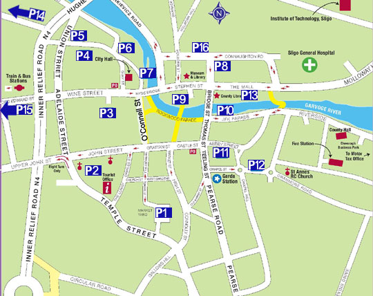 A map of the Parking Places in Sligo Town